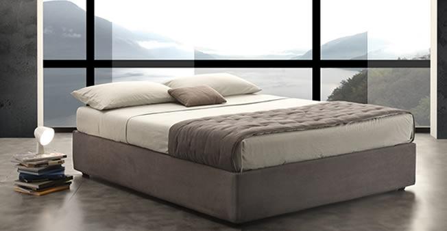 Letto contenitore easy in tessuto con vano cassone e rete - Reti per letto contenitore ...
